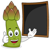 Happy Asparagus with Menu Blackboard Royalty Free Stock Photography