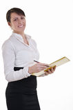 Happy assistant with folder Royalty Free Stock Photo
