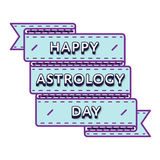 Happy astrology day greeting emblem Royalty Free Stock Images