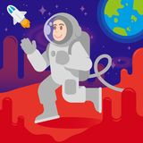 Happy astronaut on mars. Young happy smile cute cosmonaut astronaut in space suit and space helmet walk, Arrived the landing on Mars. On background red planet Stock Image