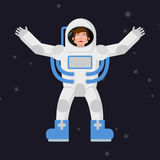Happy astronaut in outer space. Good cheerful spaceman. Space su Stock Photo