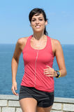 Happy athlete running on summer royalty free stock photo