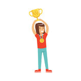 Happy athletes girl with a first place medal holding winner cup, kid celebrating her victory cartoon vector Illustration. On a white background Royalty Free Stock Images