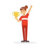 Happy athletes girl in red sports uniform holding winner cup, kid celebrating her victory cartoon vector Illustration. On a white background Stock Photo