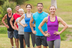 Happy athletic group smiling at camera Royalty Free Stock Photo