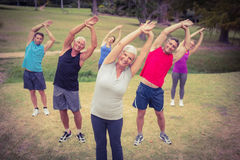 Happy athletic group training Stock Photography