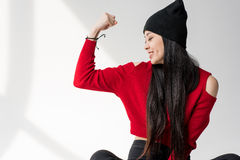 Happy attractive asian woman posing and gesturing Royalty Free Stock Photography