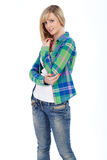 Happy attractive blonde female shoot over white Royalty Free Stock Photo