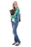 Happy attractive blonde female student, isolated Stock Photography