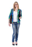 Happy attractive blonde female student, isolated Stock Image