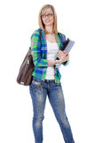Happy attractive blonde female student, isolated Royalty Free Stock Photos