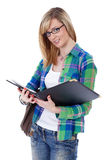 Happy attractive blonde female student, isolated Royalty Free Stock Photography