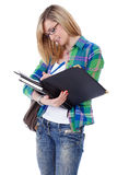 Happy attractive blonde female student, isolated Stock Images