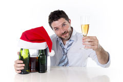 Happy attractive businessman champagne toast at christmas party Stock Photos