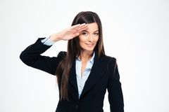 Happy attractive businesswoman saluting Royalty Free Stock Image