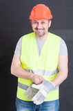 Happy attractive constructor getting ready for work Stock Photography