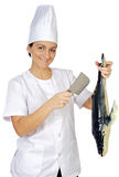 Happy attractive cook woman Royalty Free Stock Image