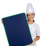 Happy attractive cook woman whit slate Stock Photo