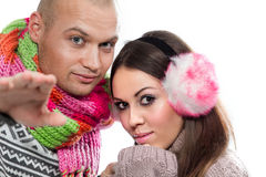 Happy attractive couple in winter clothing Stock Photography