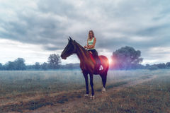 Happy attractive girl sitting on horse back Royalty Free Stock Photography