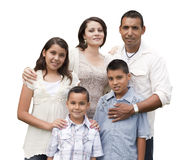 Happy Attractive Hispanic Family Portrait on White Stock Photo