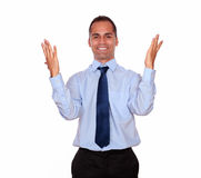 Happy attractive latin man celebrating a victory Stock Photography