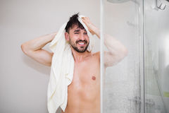Happy attractive male after shower Royalty Free Stock Images