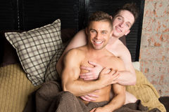 Two sexy guys. Love and Relationships.  Tenderness and beauty. Two men love each other. Stock Photography