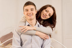 Happy attractive romantic young couple Stock Photos