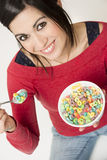 Happy Attractive Woman Eats Bowl Colorful Breakfast Cereal Stock Photo