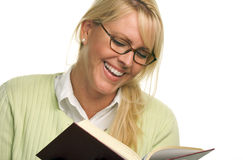 Happy Attractive Woman Reading Stock Image