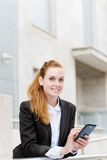 Happy Attractive Woman With Smartphone Stock Image