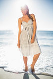 Happy attractive woman in summer dress posing Royalty Free Stock Images
