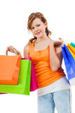 Happy attractive young shopaholic Stock Photos