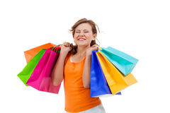 Happy attractive young shopaholic Stock Photography