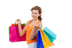 Happy attractive young shopaholic Royalty Free Stock Photos