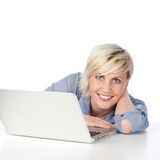 Happy Attractive Young Woman With Laptop Royalty Free Stock Images