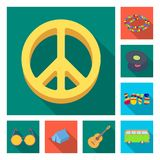 Happy and attribute flat icons in set collection for design. Happy and accessories vector symbol stock web illustration. Happy and attribute flat icons in set Royalty Free Stock Photography
