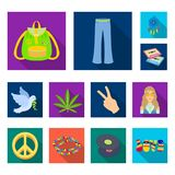 Happy and attribute flat icons in set collection for design. Happy and accessories vector symbol stock web illustration. stock illustration