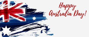 Happy Australia Day banner. Happy Australia Day. Holiday banner with abstract grunge brushed Australia flag Stock Illustration