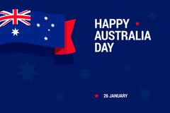 Happy Australia Day celebration card with national flag for print or mobile using. Vector illustration in flat style Stock Photography