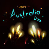 Happy Australia day with fireworks on black background. Happy ho. Liday design in . Dark sky with stars and salut Stock Photography