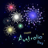 Happy Australia day with fireworks on black background. Happy ho. Liday design in vector. Dark sky with stars and salut Stock Image