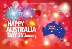 Happy Australia day greeting fireworks poster. Happy Australia Day 26th of January. Celebration poster, invitation, greeting card, gift or banner festive Royalty Free Stock Photography