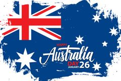 Happy Australia Day, january 26 celebrate banner with hand lettering holiday greetings and brush stroke. Happy Australia Day, january 26 celebrate banner with Royalty Free Stock Images