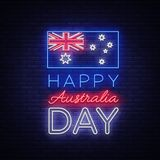 Happy Australia Day on January 26 festive background with flag in neon style. Neon sign, ribbon with national colors. Layout of the template for card, banner Royalty Free Stock Photography