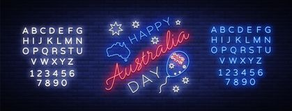 Happy Australia Day on January 26 festive background with flag in neon style. Neon sign. Layout of the template for card. Banner, poster, flyer, card. Vector Stock Photos