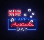Happy Australia Day on January 26 festive background with flag in neon style. Neon sign, ribbon with national colors. Layout of the template for card, banner Stock Photos