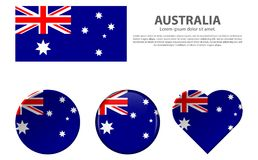 Vector Australian Flag and Icon Set. Happy Australia day 26 january festive background with flag. Template design layout for card, banner, poster, flyer, card royalty free illustration