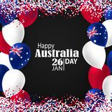 Happy Australia day 26 january festive background. Happy Australia Day with National Flag Colors Buntings,Ballons, Confetti.26 January Festive.Template for Stock Photography